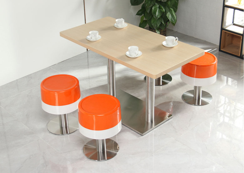 湘潭快餐厅肯德基餐桌椅组合小吃奶茶甜品汉堡店冬瓜凳玻璃钢圆凳桌椅